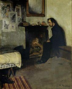 """""""El bohemio, Erik Satié en su estudio"""" (1891) de Santiago Rusiñol. Representante del Modernismo. Parece una composición fotográfica."""