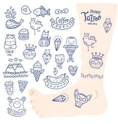 Cute cartoon hand drawn doodle tattoo set vector by kostolom3000 on VectorStock®