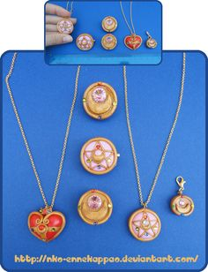 Sailor Moon Brooches - pins and necklaces by Nko-ennekappao.deviantart.com on @deviantART
