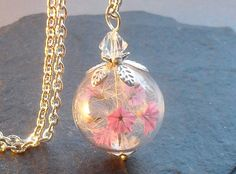 Real flower necklace with dandelion real natural by Annaleasfinest, $30.80