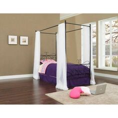 Canopy Iron Twin Bed, Multiple Colors