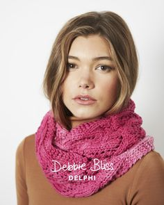 Pink lace Cowl in Debbie Bliss Delphi,a fun knit to add a colorful touch to your wardrobe. Find this pattern at LoveKnitting.Com.