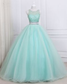 two piece green sleeveless party dress,beading sheer straps prom dress · Grace Girls Dress · Online Store Powered by Storenvy Pretty Quinceanera Dresses, Pretty Prom Dresses, Lace Evening Dresses, Prom Dresses Blue, Pageant Dresses, Ball Dresses, Girls Dresses, Bridesmaid Dresses, Girls Party Dress