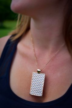 """Fitbit One pendant / necklace - Rectangle """"Honeycomb"""" Rose Gold tone with white leather"""