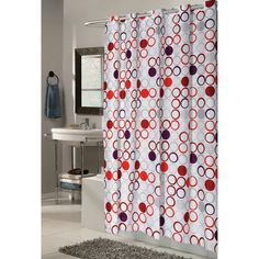 Carnation Home Fashions Ez On Grommet Bohemia Contemporary Circles Fabric Shower Curtain - SCEZ-BOH