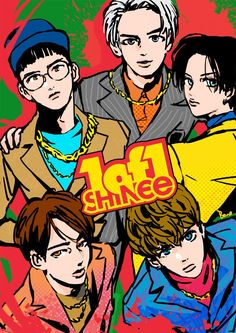 """Fan art of Key (키), Minho (민호), Taemin (태민), Onew (온유) and Jonghyun (종현) of SHINee (샤이니) from their """"1 of 1"""" comeback.    ©borno on FanBook."""