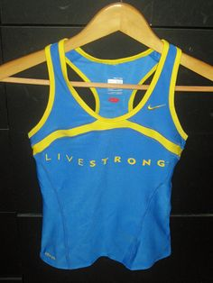 Livestrong tank (with built-in sports bra). One of my favorite summer running tops. Great support and beautiful colors.