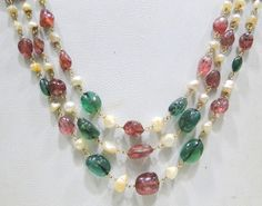 vintage antique solid 22K solid Gold pearls ruby emerald beads necklace india