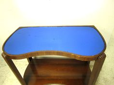 Vintage Antique Art Deco Cobalt Blue Mirror Glass Top Hall Stand End Side Table…