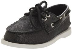 """Sperry Top-Sider A/O CG Loafer, Black, 7.5 M US Toddler Sperry Top-Sider. Save 52 Off!. $23.92. synthetic. This shoes / sandals / boots style name or model number is A/O. Rubber sole. Color: Champagne Glitter. Material: Synthetic Upper and Man-Made Outsole. Made in China. Width: M. Measurements: 0.5"""" heel"""