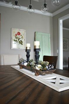 DIY Farmhouse Style Fall Table Centerpiece For Your Home Farmhouse Dining Room Table, Diy Dining Table, Farmhouse Kitchen Decor, Farmhouse Style, Table Tray, Dining Decor, Tray Decor, Modern Farmhouse, Table Centerpieces For Home