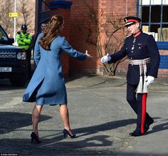 Duchess Kate is glamorous at pottery factory visit this morning 02.18.15 via Daily Mail