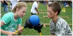 In this challenge, plungers are used to pass a ball as many times possible without dropping it. #gameoftheday #fieldday