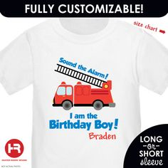 Personalized Fire Engine Birthday Shirt or Bodysuit. $17.00, via Etsy.