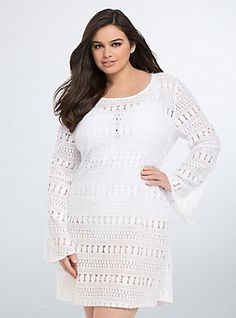 Lace Tie Back Cover Up, WHITE