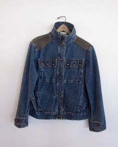 vintage 80's distressed denim jean jacket with brass snap buttons retro mens by foxandfawns, $68.00