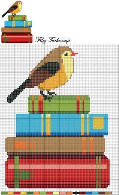 Bird on books cross stitch chart Cross Stitch Books, Cross Stitch Bookmarks, Cross Stitch Bird, Cross Stitch Alphabet, Cross Stitch Animals, Modern Cross Stitch, Cross Stitch Designs, Cross Stitching, Cross Stitch Embroidery