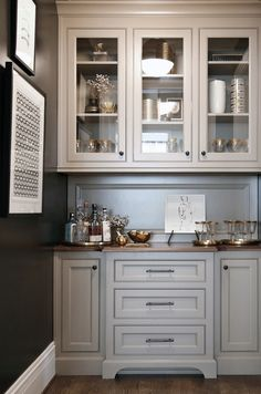 Butler pantry cabinets. Butler pantry cabinet ideas. Gray Butler pantry cabinet. Butler pantry cabinet design. #Butlerpantry #Butlerpantrycabinets Barbara Brown Photography. Bell Kitchen and Bath Studios.