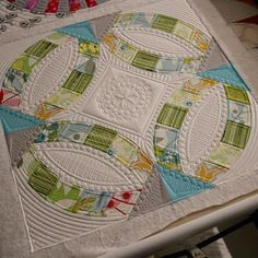 You could say this is quilted to death. Art for my studio wall. by sewkindofwonderfuljenny Long Arm Quilting Machine, Machine Quilting Designs, Quilting Ideas, Longarm Quilting, Free Motion Quilting, Quilting Stencils, Wedding Ring Quilt, Wedding Quilts, Sew Kind Of Wonderful