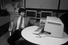 Jobs with the Lisa, an early — and revolutionary — Apple computer, in 1982.