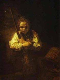 """""""A Girl With a Broom"""" - Rembrandt van Rijn, 1651 ."""
