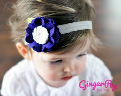 Felt Flower Headband - Deep Purple Ruffle Flower Headband for Babies, Toddlers, or Adults - 100% Handmade with Wool Felt