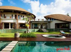 Overlooking an expanse of rice terraces just north of Umalas village,stands out from the crowd with its distinctive, elegantly bowed roofs. Within a series of pavilions curved around a large swimming...#villa #bali #balivilla #villainbali #villalife #hgtv