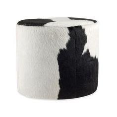 Pouf carré peau de vache noir marron et blanche