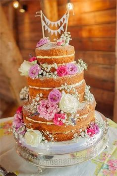 Country garden naked wedding cake