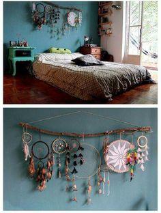 Boho apartment decor dream catcher decor over bed or headboard bohemian hype on wall art decor room hippie boho room decor diy