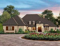 French Country Elegance - 69578AM | European, French Country, 1st Floor Master Suite, Bonus Room, Butler Walk-in Pantry, CAD Available, Den-Office-Library-Study, Jack & Jill Bath, PDF, Split Bedrooms, Corner Lot | Architectural Designs