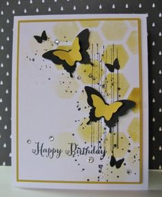Summer Butterflies Card by Barb Mann - Cards and Paper Crafts at Splitcoaststampers Homemade Birthday Cards, Homemade Cards, Butterfly Design, Butterfly Cards, Card Making Inspiration, Making Ideas, Card Tags, I Card, Hexagon Cards