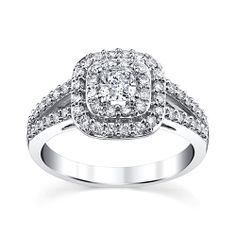 14K White Gold Cushion Cut Diamond Engagement Ring.   Holiday Gift Guide   Rogers Jewelry Co.