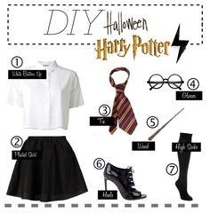 HARRY POTTER: You'll need a white botton up, a pleated skirt, glasses, a wand, knee-high socks, and a tie in Hogwarts colors to make this costume. Find more Halloween inspiration and costume ideas here!