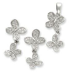 Sterling Silver CZ Butterfly Pendent & Earring Set