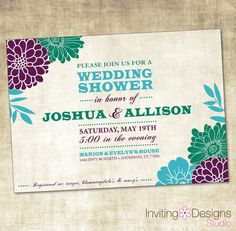 Wedding Shower Invitation PRINTABLE FILE by InvitingDesignStudio, $18.00