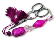Scissor Fob Fuchsia Pink Quilting Sewing Cross by TJBdesigns, $18.00