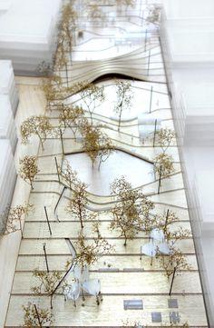 MX_SI architectural studio y mestreswåge arquitectes rediseñarán plaza pública de Oslo,Maqueta. Landscape Model, Landscape And Urbanism, Landscape Concept, Landscape Architecture Design, Landscape Plans, Urban Landscape, Maquette Architecture, Architecture Courtyard, Hillside Landscaping