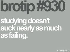 bro tip  930 studying sucks less than failing