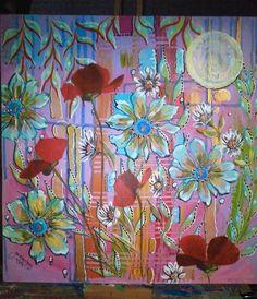Tableau fleuri - acrylique sur toile  by gremmelprez Marie