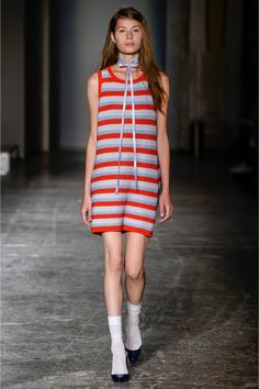 Milan Fashion Week, Arthur Arbesser, this striped dress is possibly crochet