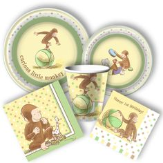 Adorable Curious George 1st birthday party supplies from www.DiscountParySupplies.com
