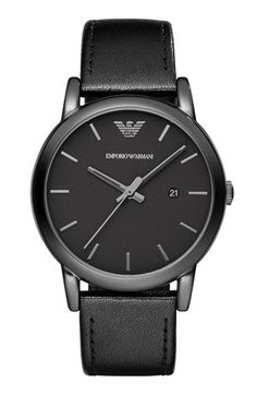 Emporio Armani Leather Strap Watch, 41mm | Nordstrom