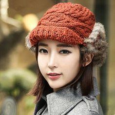 Winter knit beanie hat with ear flaps for women fur winter hats
