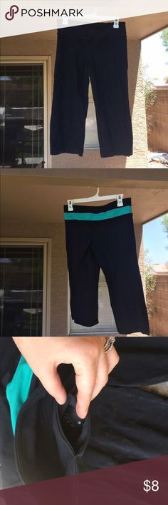 Reversible black yoga capris w/tiny pocket! Reversible black yoga capris w/tiny pocket! Pants Track Pants & Joggers