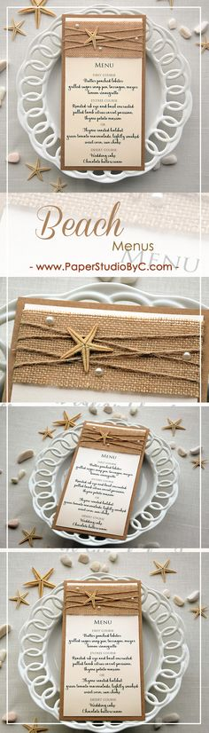Destination Wedding Dinner Menu that match with your Beach or Destination Wedding Menu. With this rustic beach menu your guests will know what's for dinner. Wedding Burlap, Rustic Wedding, Lace Wedding, Handmade Wedding Invitations, Wedding Stationery, Bridal Shower Menu, Wedding Dinner Menu, Stationery Items, Destination Wedding