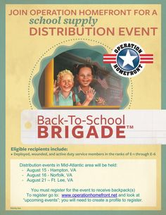 Back-To-School Brigade-Operation Homefront School Supply Distribution Event - Online Military Discounts and Deals | MilitaryBridge
