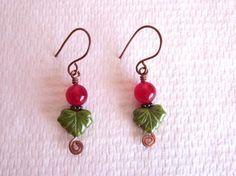 Red Ruby and Czech Glass Maple Leaf Copper Wire Earrings, $5