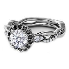 Black Diamond Halo Engagement Ring Twisted Pave Band in 14K White Gold