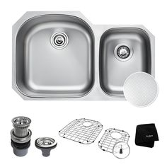 "KRAUS Outlast MicroShield Scratch-Resist Stainless Steel Undermount 60/40 Double Bowl Sink, 32"" 16 Gauge, Premier Series KBU23E - - Amazon.com"